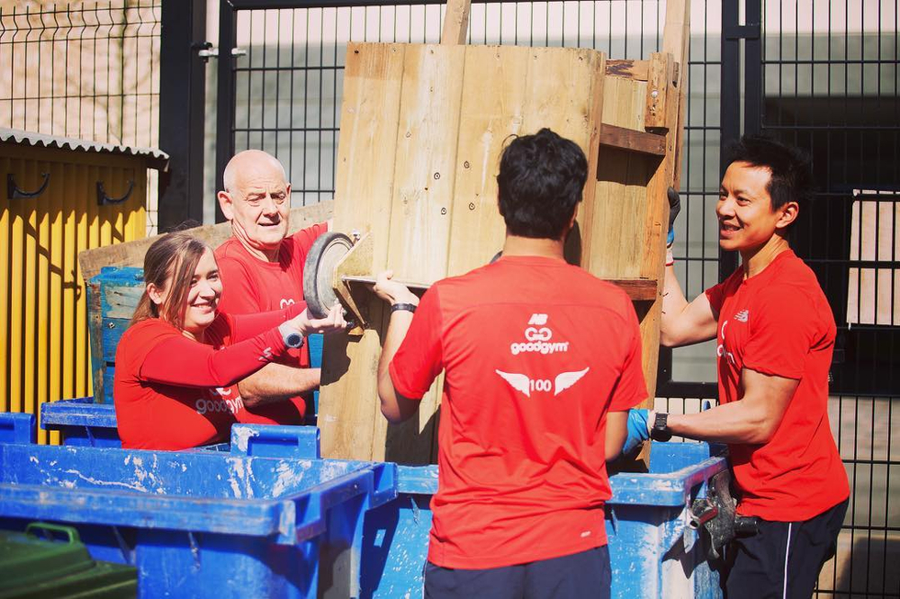 A GoodGym group working hard at a task